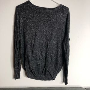 Sparkly black and silver sweater high low top